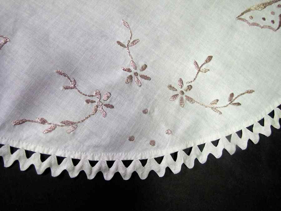 close up 2 vintage antique table topper society silk embroidered butterflies