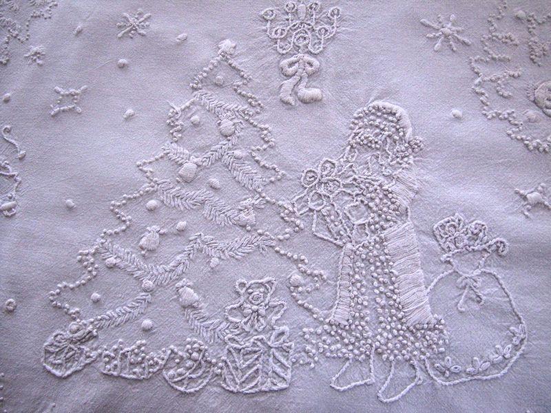 vintage Christmas whitework table runner boster cover St. Nicholas, Tree, Santa, Reindeer