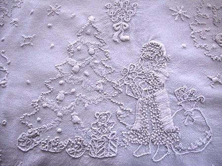 vintage Christmas needle art St. Nicholas, tree, reindeer