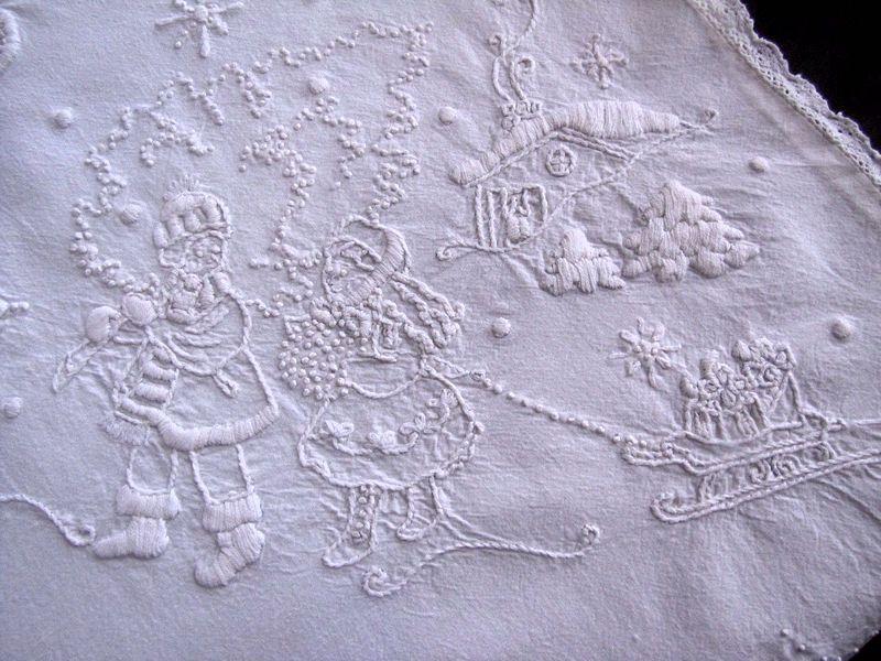 close up vintage Christmas whitework table runner boster cover St. Nicholas, Tree, Santa, Reindeer