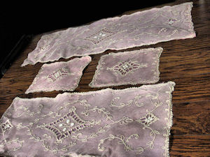 4 piece vintage antique table runner dresser scarf set tambour lace