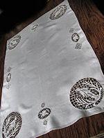 vintage table runner dresser scarf handmade figural lace
