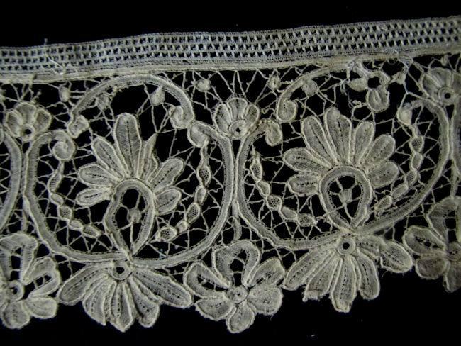close up 3 antique handmade duchesse lace
