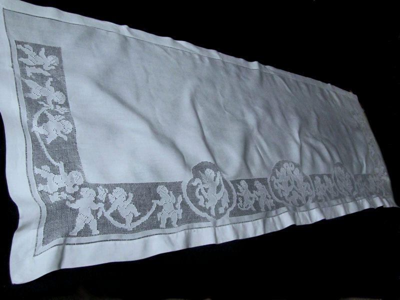 antique vintage pillow sham figural lace