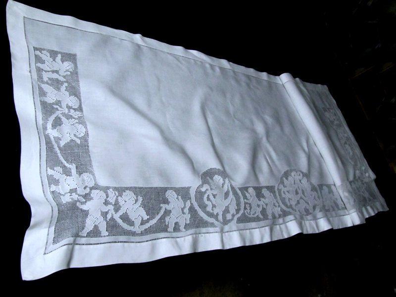 vintage antique figural lace pillow sham folded
