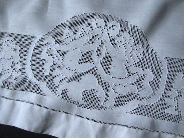 vintage antique double layover pillow sham center figural lace medallion
