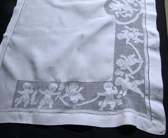 antique layover pillow sham figural lace corner