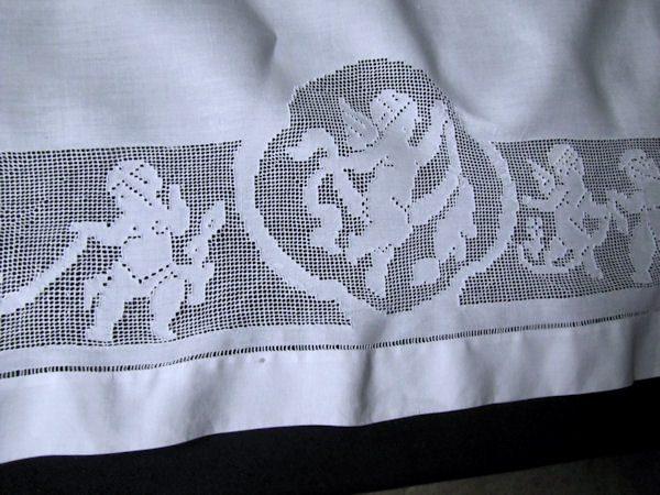 vintage antique double pillow sham close up figural lace
