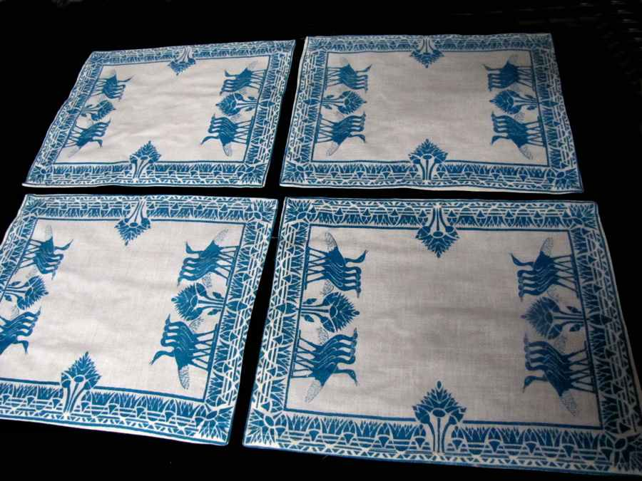 vintage antique placemats set hand printed green water birds