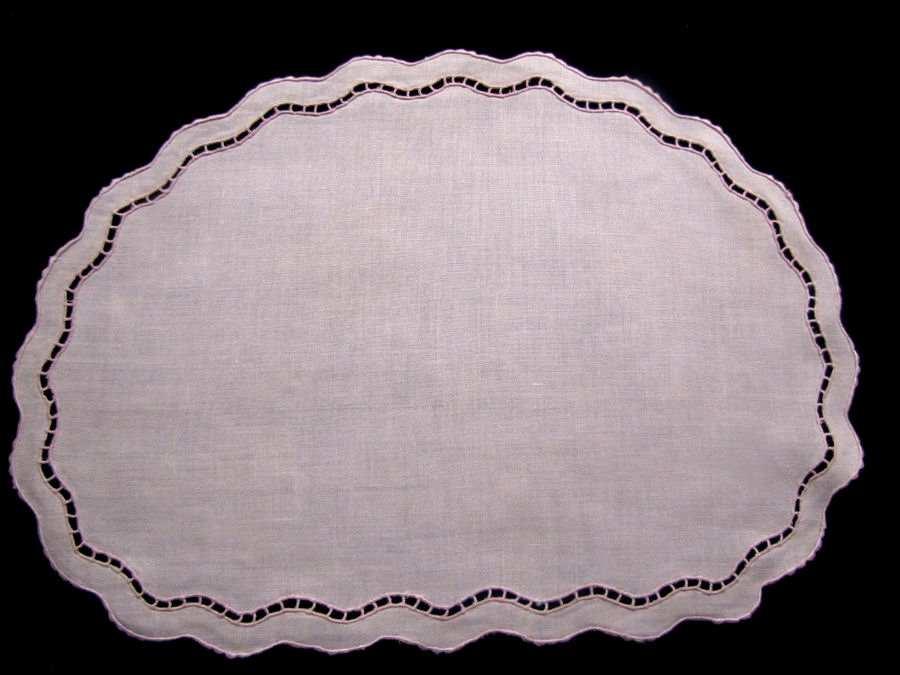 vintage antique pink linen handmade lace placemats 12 piece set