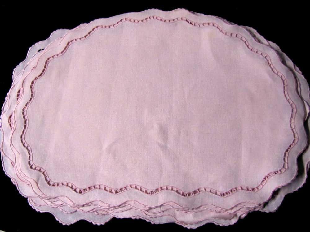 close up vintage antique pink linen handmade lace placemats 12 piece set