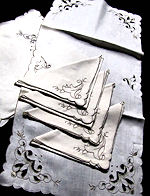 vintage antique linen placemats and napkins handmade