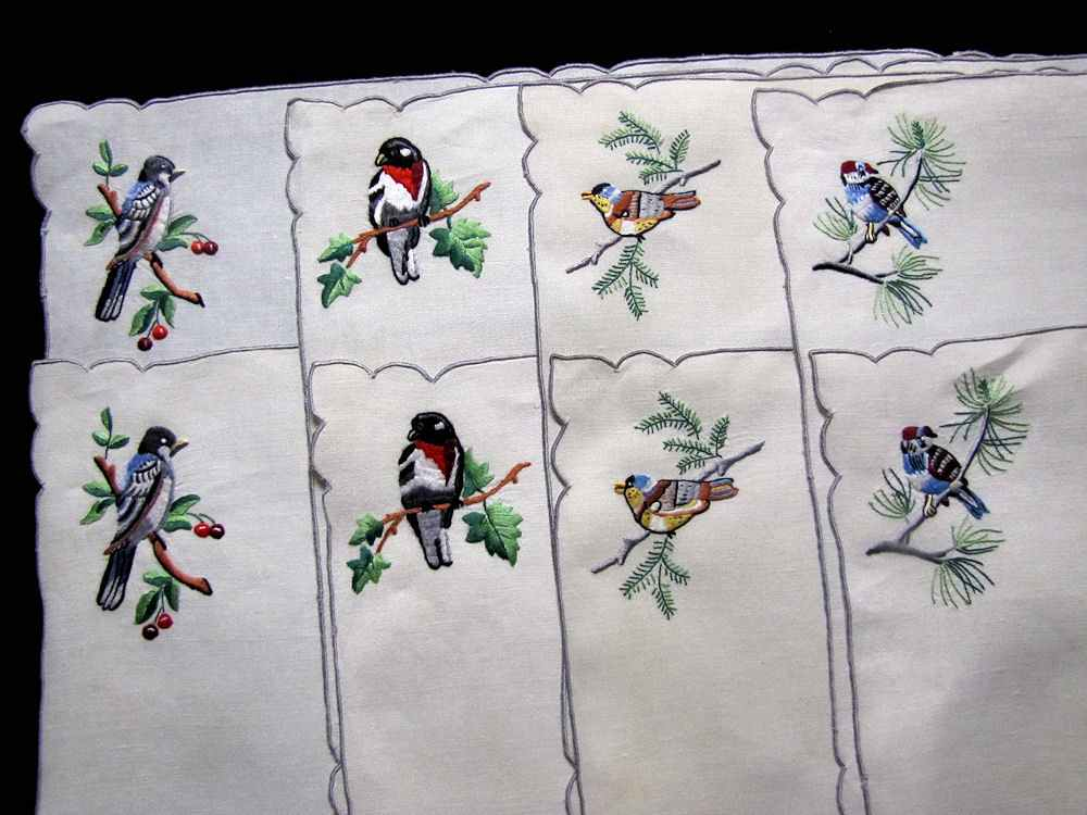 vintage antique placemats set hand embroidered birds
