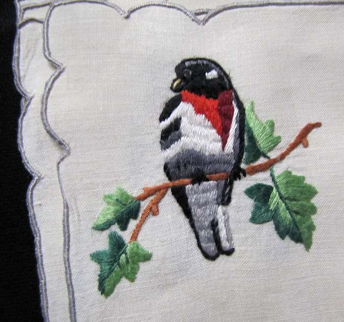 close up 2 vintage antique placemats set hand embroidered birds