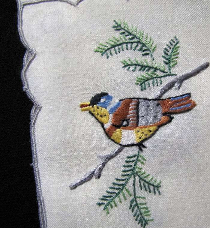 close up 3 vintage antique placemats set hand embroidered birds