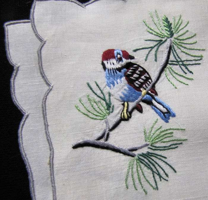 close up 4 vintage antique placemats set hand embroidered birds