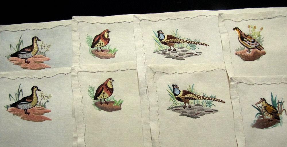 vintage antique placemats set linen with hand embroidered birds
