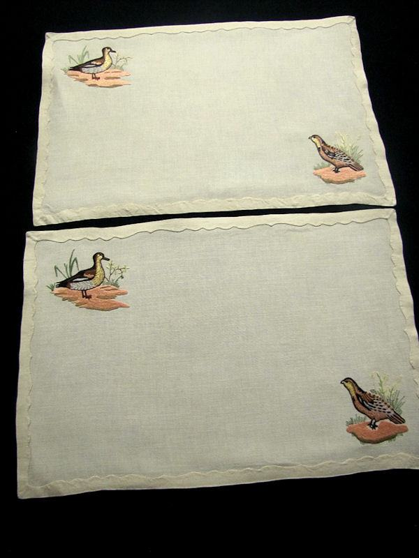 close up 9 vintage antique placemats set linen with hand embroidered birds