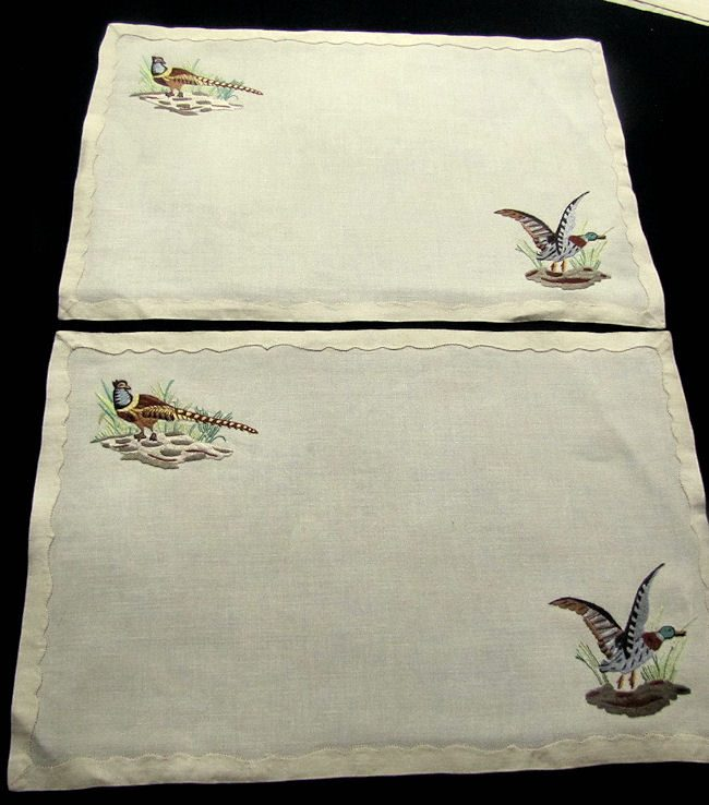 close up 10 vintage antique placemats set linen with hand embroidered birds
