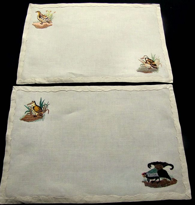 close up 11 vintage antique placemats set linen with hand embroidered birds