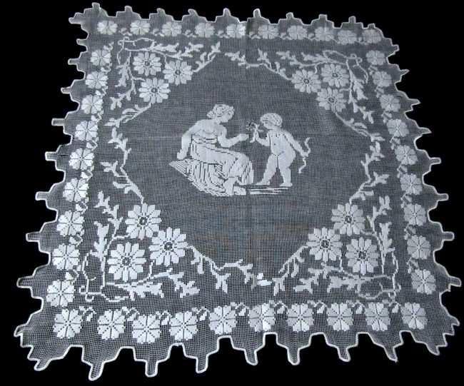vintage figural lace table topper