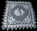 vintage figural lace table topper