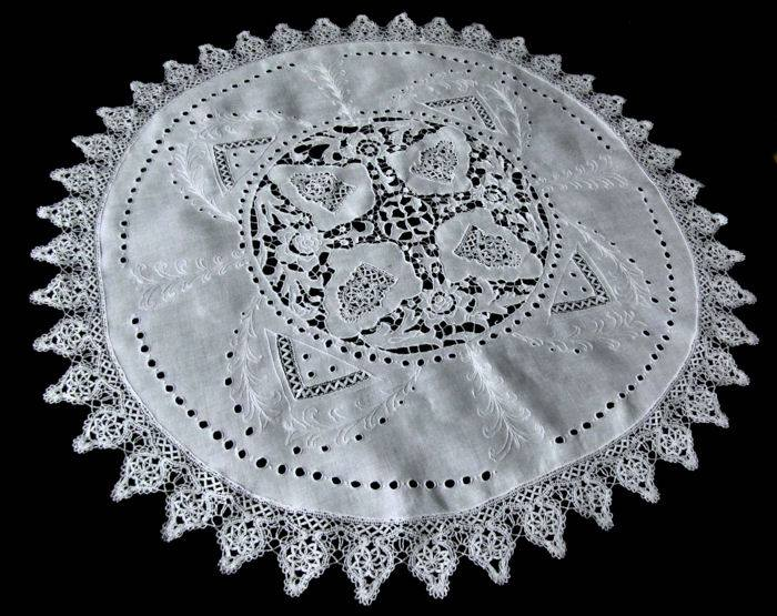 vintage table topper handmade lace