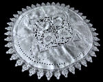 vintage antique linen table topper handmade lace