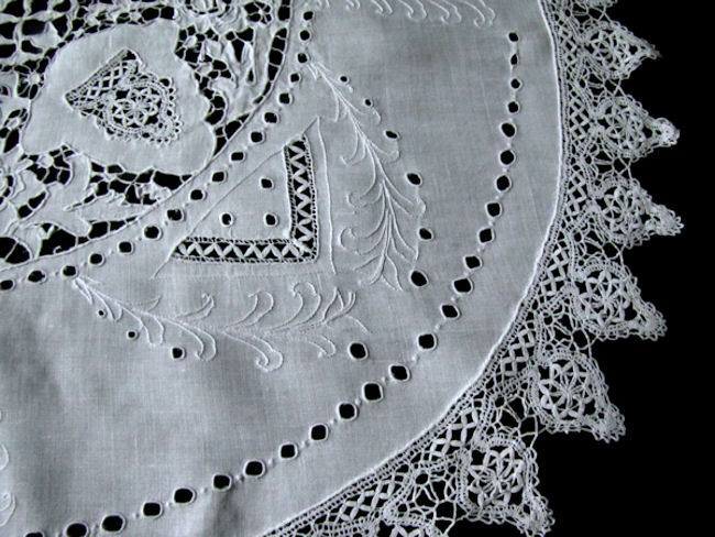 vintage antique table topper handmade lace close-up 1
