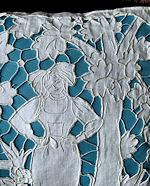vintage figural lace pillow cover