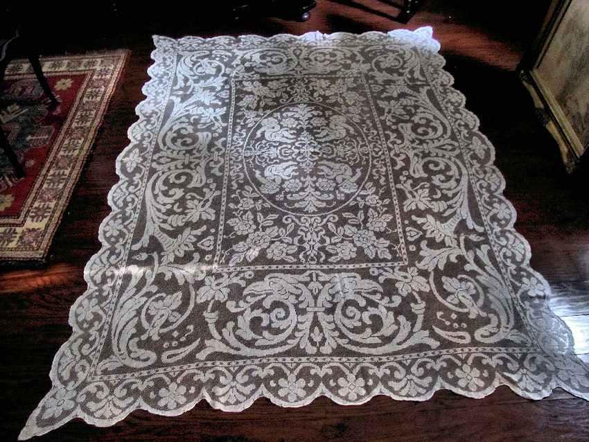 vintage antique handmade figural lace tablecloth