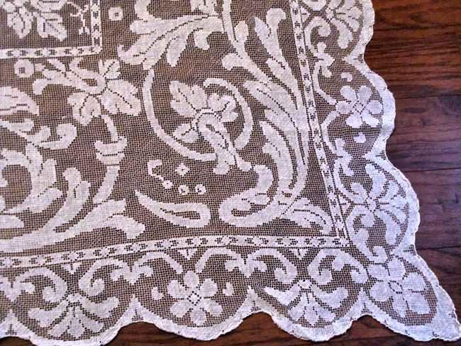 close up 2 vintage antique handmade figural lace tablecloth