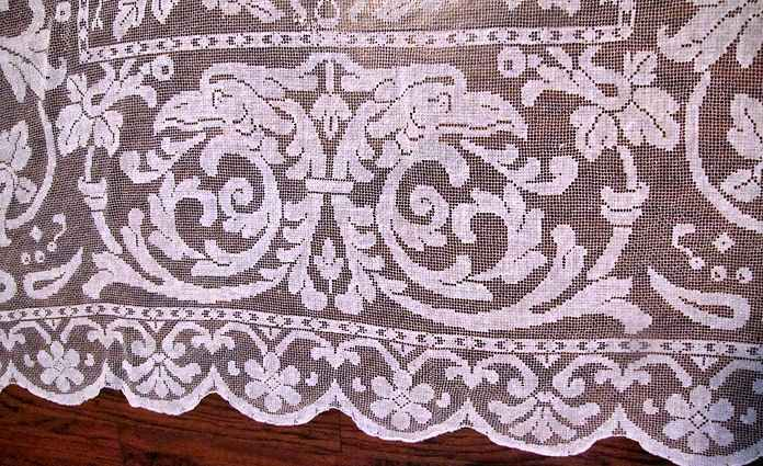 close up 3 vintage antique handmade figural lace tablecloth