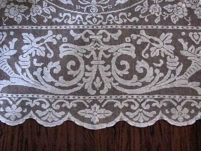 close up 4 vintage antique handmade figural lace tablecloth