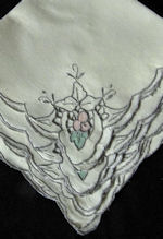 vintage linen and applique dinner napkins