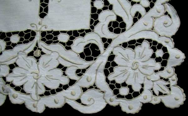 close up 4 vintage antique tablecloth handmade lace and embroidery