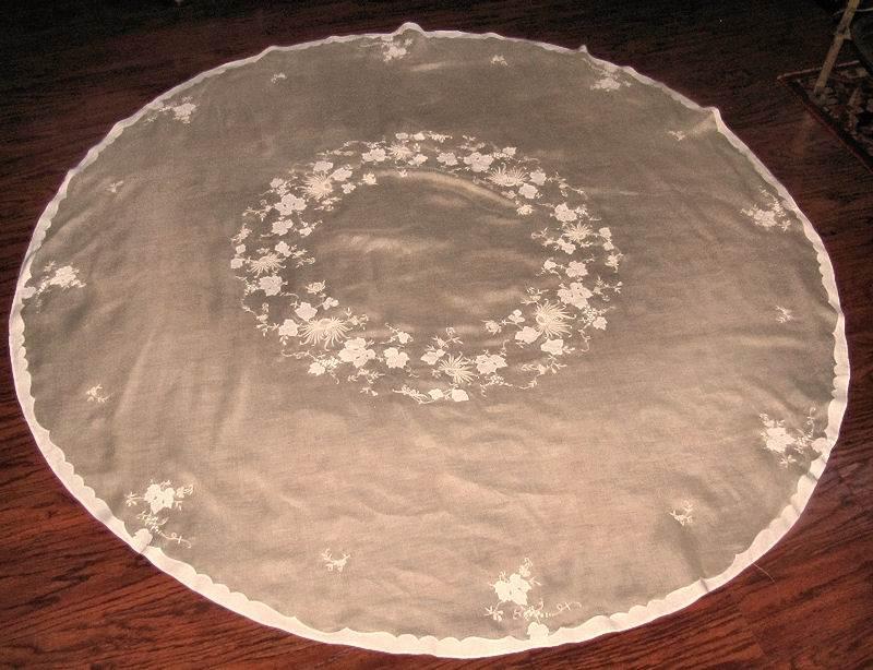 vintage round yellow organdy tablecloth handmade