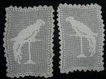 pair vintage figural lace doilies