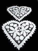 pair vintage linen lace doilies with flowers