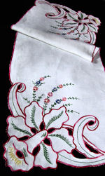 vintage antique linen table runner dresser scarf handmade cutwork lace