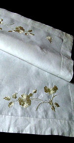 vintage antique handmade white linen table runner dresser scarf society silk embroidery