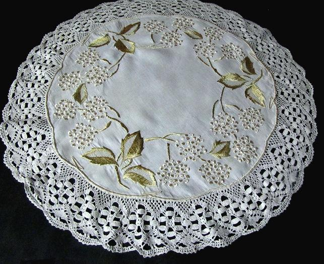 vintage antique linen handmade table topper with society silk embroidery and lace edge