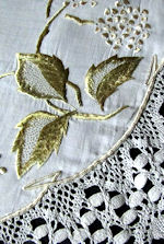 vintage antique handmade linen table topper lace and society silk embroidery