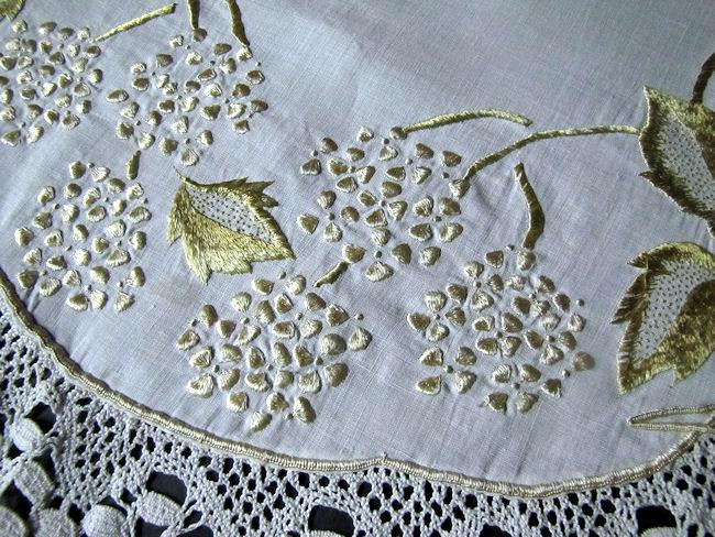 close up 2 vintage antique linen handmade table topper with society silk embroidery and lace edge