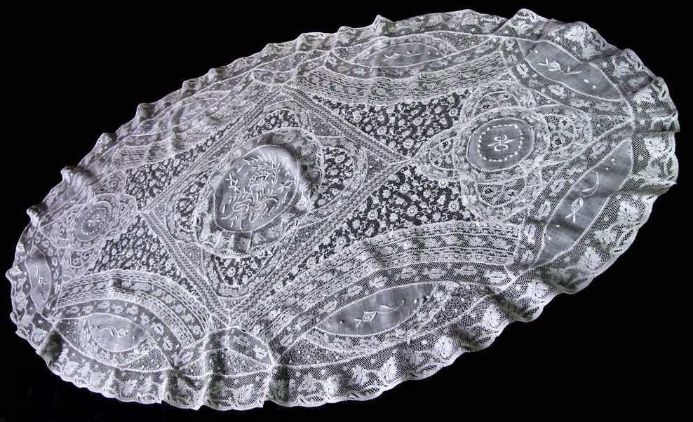 vintage antique Normandy lace table topper