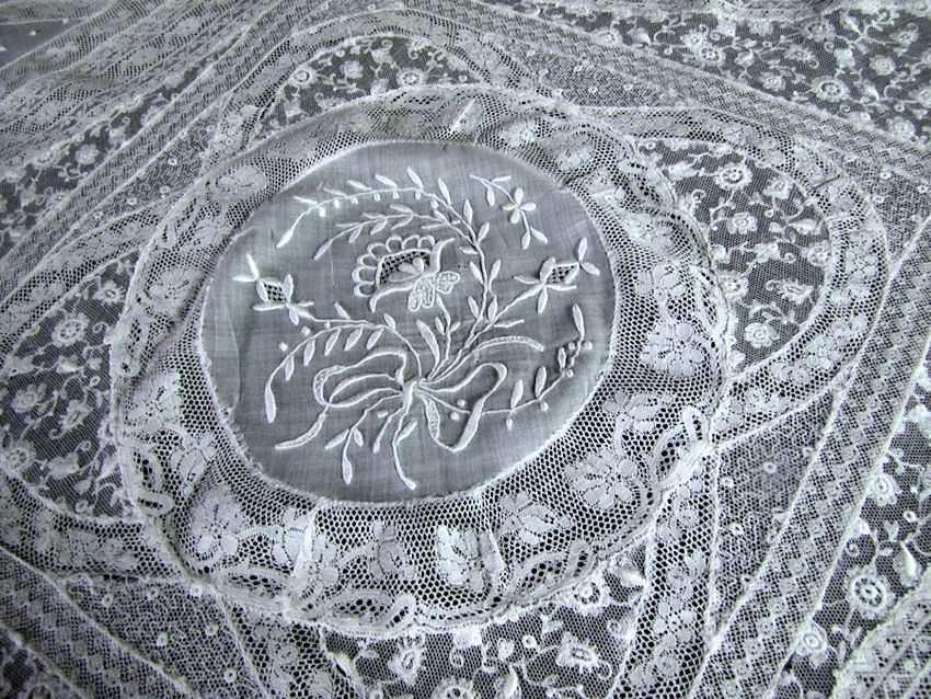 close up 2 vintage antique Normandy lace table topper
