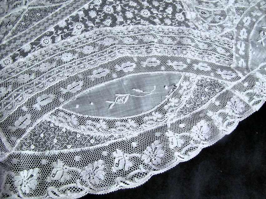 close up 3 vintage antique Normandy lace table topper