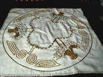 vintage antique flower baskets embroidered table topper