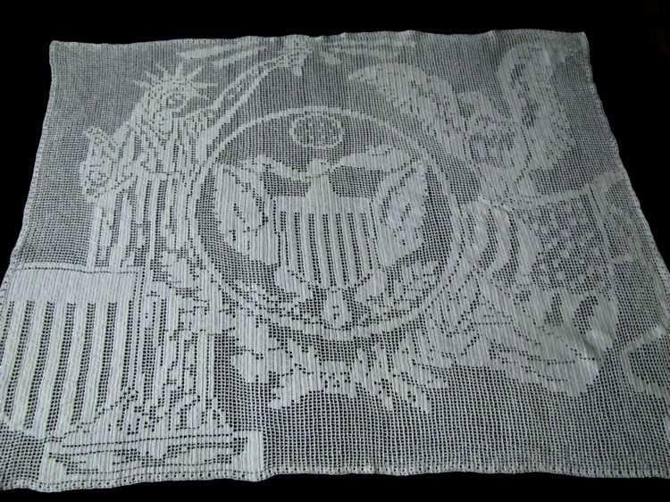 vintage handmade patriotic figural lace wall hanging