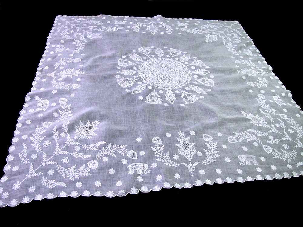 vintage antique tablecloth handmade figural lace elephants